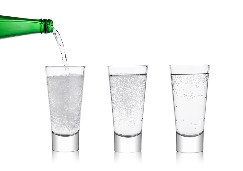 Sparkling water in glasses