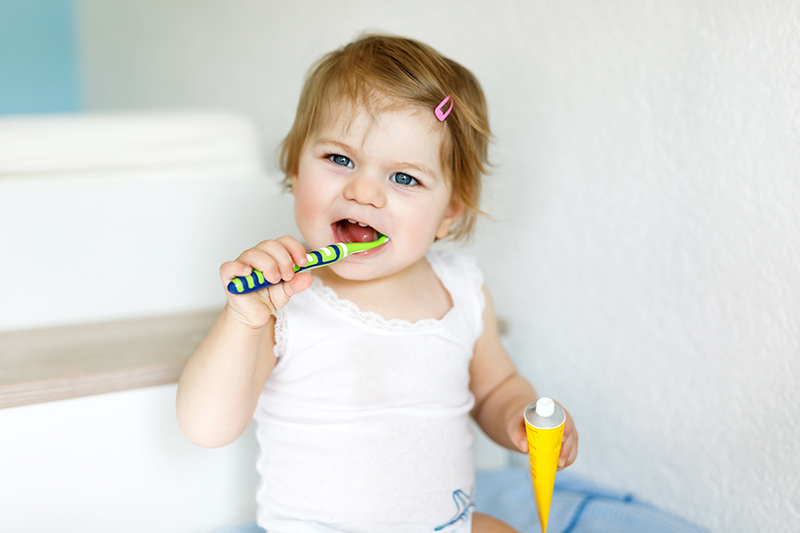Little Baby Girl Holding Toothbrush